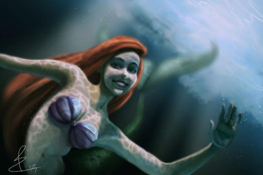 Ariel startles Scuba-Divers for fun! by Biro-boi
