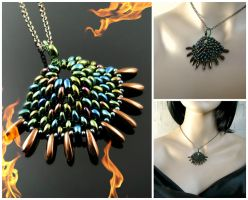 Beaded dragon scale pendant - Green Rainbow Spike by CatsWire