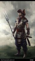 Chinese ancient warrior by FangWangLlin