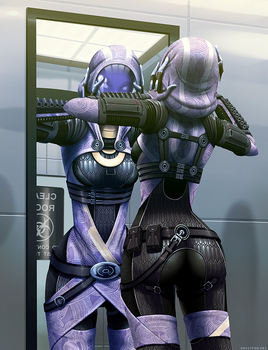 Mass Effect: Tali's Reflection by ghostfire