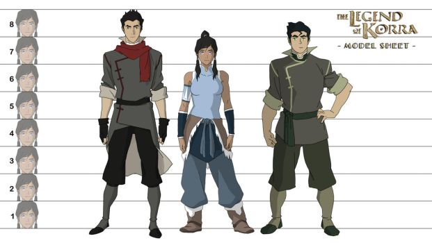 Legend of Korra : Korra, Mako, Bolin Model Sheet by samcote