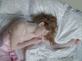 Girl In Pink On Bed In Pastel 1 by ragamuffin57