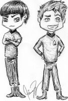 Chibi's: Spock and Kirk by MCRObsessedFrankFan