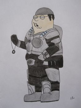 Peter Griffin as Marcus Fenix by BlackCorset