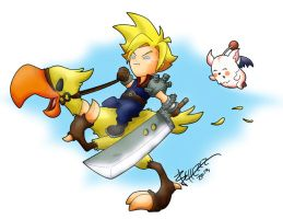 Cloud and Chocobo plus Moogle by vandono