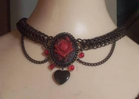 Red Rose Cameo Choker by hwkwlf