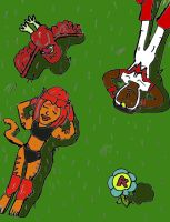 Falcon and Tigra: Laying in the Grass by SonicClone