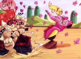Peach VS Bowser Race by Evanatt