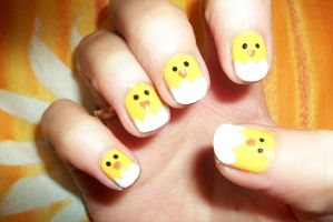 little chick easter nail art - manicura pollito by butterfly1980