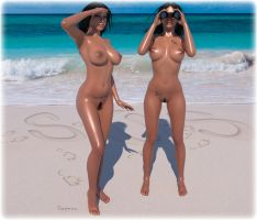 Hot Naked Girls / Teles Twins in Lost Paradise by gajeco