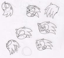 Sonic the Hedgehog sketches-line arts by Piplup88908