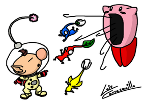 Kirby Eats Pikmin by Lwiis64
