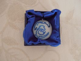 Blue eyes white dragon necklace by SaberThetis
