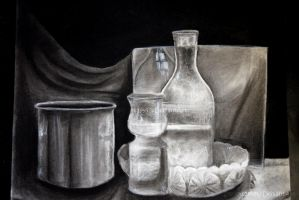 Charcoal Glass Drawing by skyrore1999