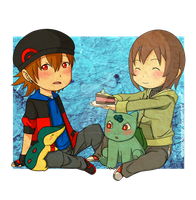 Anna and Reno with pokemons by aninhachanhp