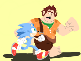 Wreck-It-Ralph, Sonic by TheRollingWestern