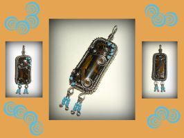 Iron tiger-eye and stainless steel pendant by marsvar