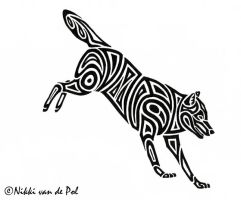 Jumping Wolf Tribal by Nikki-vdp