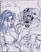 Tattoo Girl and Horny SKETCH by PatCarlucci