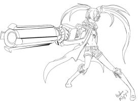 Lineart- Black Rock Shooter by Kari--Koboyashi