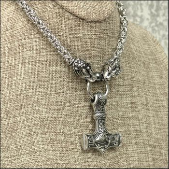 Large Steel Mjolnir on Dragon Chainmaille Necklace by GoodSpiritWolf