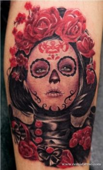 Mexican Death Mask Rose Tattoo by Remistattoo