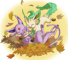 Leafeon and Espeon by Pikalu