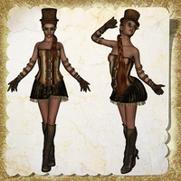 Sassy Steampunk Ladies 01 by Just-A-Little-Knotty