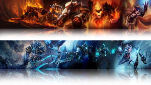 league of legends wallpaper - Fire and Ice (white) by Desorienter