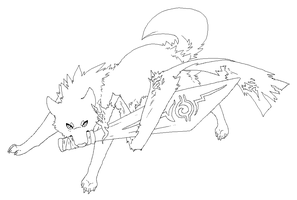 Sword wolf free Lineart by Roneri