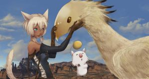 Miqote and Friends by Luigigurl