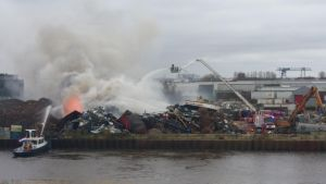 large fire at scrap company by damenster