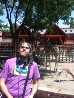 Day at the Zoo: Me with the Giraffes by SithVampireMaster27