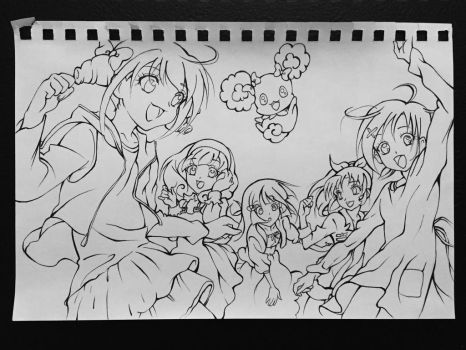 Smile! Smile! Smile Pretty Cure! (line art) by Highway3