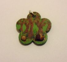 painted wooden pendant with acorn house by Stefimoose