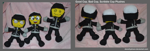 Good Cop, Bad Cop, Scribble Cop Plushies by DonutTyphoon