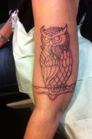 Linework owl by MitchBarberTattoos
