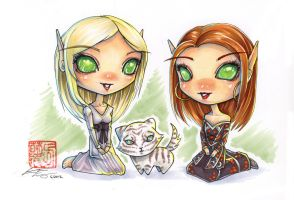 Fanart Commission - Blood Elf Chibis by fictograph