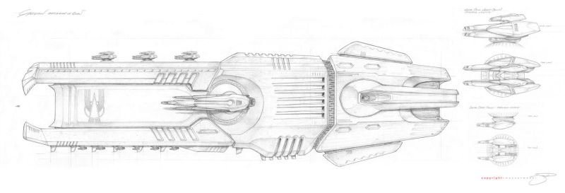 Gargan Battle Ship View III by mavartworx