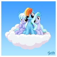 Flitter Cloudchaser and Rainbow by mysticalpha