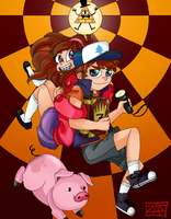 Dipper and Mabel [Gravity Falls] by ZombieComplex