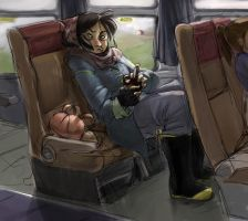 bag lady on the train by mountainlaurelarts