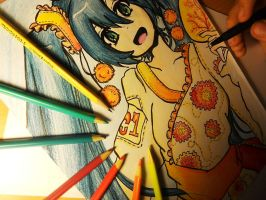 Finish coloring Miku drawing! (2012) by Vocalandroid01