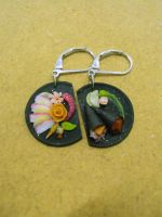 sashimi and handroll platter earrings by Snowfern