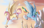 Fluttershy and Rainbowdash by Goddess-of-Gales
