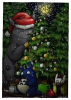Totoro christmas card by GrayWolfShadow