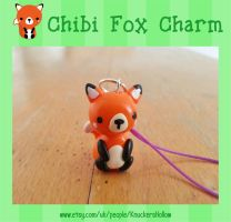 Cute chibi style polymer clay fox phone charm by Knuckers-Hollow