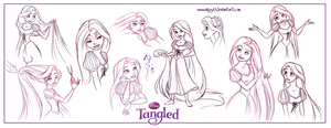 Tangled-Rapunzel Sketchdump01 by Nippy13