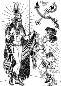 Hormahis and goddess Hathor by talfar