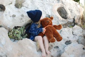 Girl with Teddy by stockmichelle